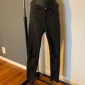 Zara black/grey distressed knee skinny jeans 6/$14